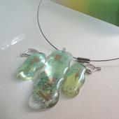 Комплект серьги кулон из цветного стекла Вечная весна. Фьюзинг