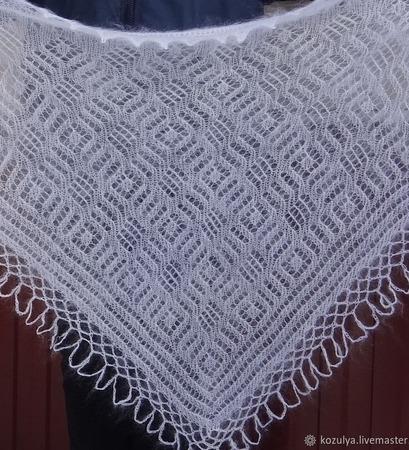 Косынка-шаль пуховая ажурная вязанная №07 ручной работы на заказ