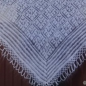 Косынка-шаль пуховая ажурная вязанная №08