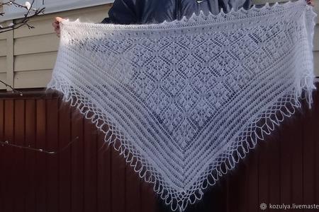 Косынка-шаль пуховая ажурная вязанная №08 ручной работы на заказ
