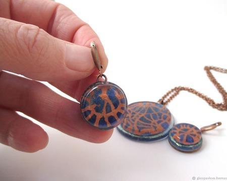 Серьги кулон из декоративного стекла Джинсовые истории. Фьюзинг ручной работы на заказ