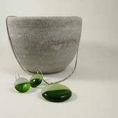Комплект серьги кулон из стекла Кругленькие. Фьюзинг