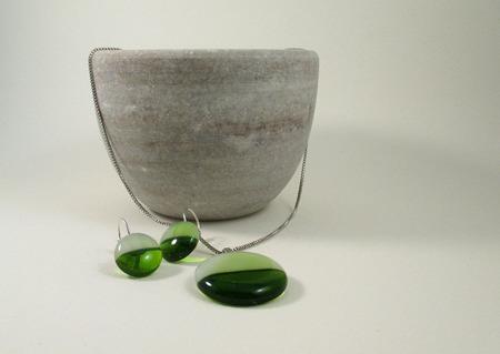Комплект серьги кулон из стекла Кругленькие. Фьюзинг ручной работы на заказ