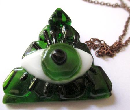 Стеклянный кулон Глаз. Декоративное стекло. Фьюзинг ручной работы на заказ