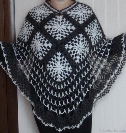 Пончо вязаное женское, пуховое пончо , вязаная женская накидка. ручной работы на заказ