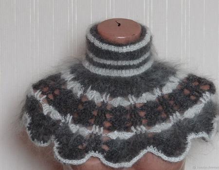 Шарф-манишка,оплечье, вязанная из козьего пуха ручной работы на заказ