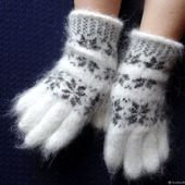 Зимние  тёплые перчатки шерсть с пухом