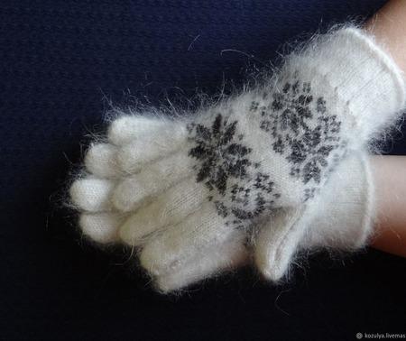 Зимние  тёплые перчатки шерсть с пухом ручной работы на заказ