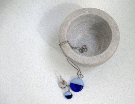 Комплект украшений серьги кулон из стекла Кругленькие 2 ручной работы на заказ