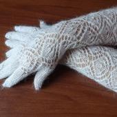 Перчатки длинные,пуховые,вязанные. Козий пух.