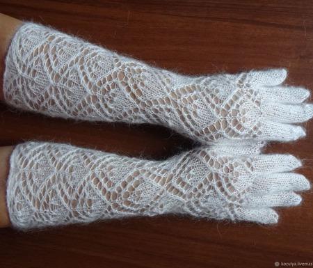 Перчатки длинные,пуховые,вязанные. Козий пух. ручной работы на заказ