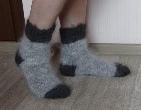 """Носки мужские пуховые тёплые """"Подарок любимому- 2"""" ручной работы на заказ"""