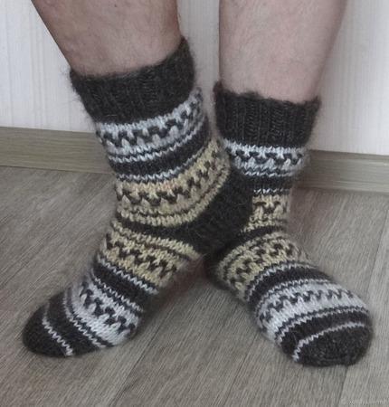 """Носки мужские пуховые тёплые """"Подарок любимому- 3"""" ручной работы на заказ"""