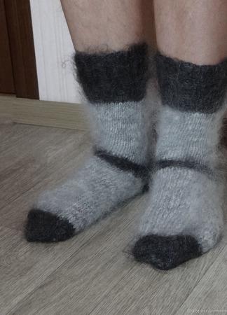 """Носки мужские пуховые тёплые """"Подарок любимому- 1"""" ручной работы на заказ"""