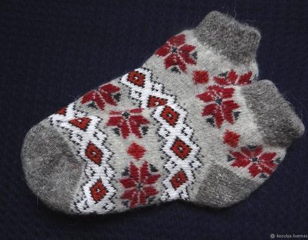 """Носки  укороченные шерстяные -вязанные,теплые """"НОВОГОДНИЙ ПОДАРОК 3"""" ручной работы на заказ"""