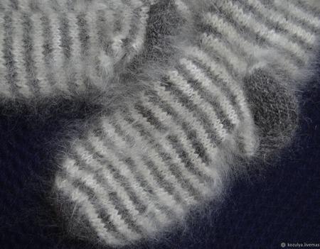"""Носки пуховые""""Полосатики 2""""-вязанные,теплые. ручной работы на заказ"""