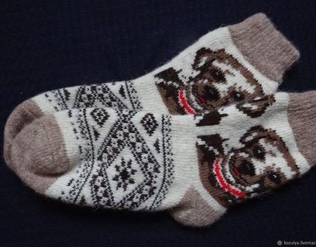 """Носки шерстяные- вязанные-тёплые  """" подарок 2018 """" ручной работы на заказ"""