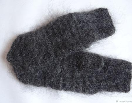 Мужские пуховые варежки- рукавицы. Козий пух. ручной работы на заказ