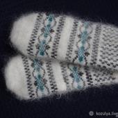 Варежки,рукавицы вязанные шерсть с пухом №10