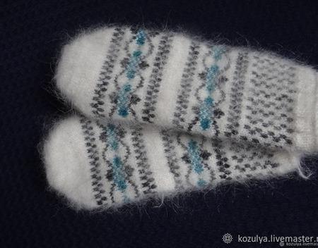 Варежки,рукавицы вязанные шерсть с пухом №10 ручной работы на заказ