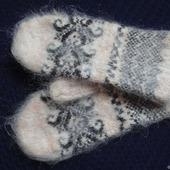 Варежки,рукавицы вязанные шерсть с пухом №2