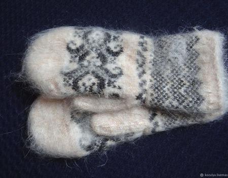 Варежки,рукавицы вязанные шерсть с пухом №2 ручной работы на заказ