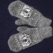 """Варежки,рукавицы вязанные шерсть с пухом """"С собачкой"""""""