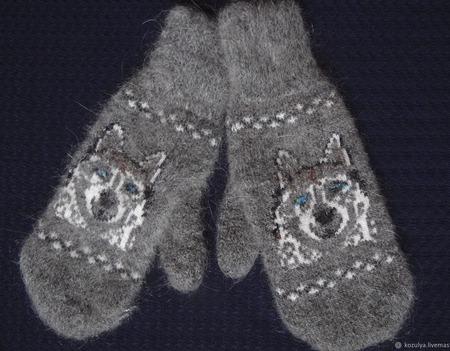 """Варежки,рукавицы вязанные шерсть с пухом """"С собачкой"""" ручной работы на заказ"""
