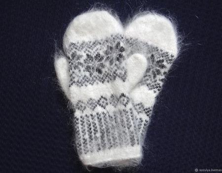 Варежки-рукавички вязанные из шерсти с пухом 1 ручной работы на заказ