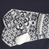 """Варежки-рукавички вязанные из шерсти  """"Новогодний подарок"""""""