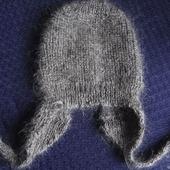 Пуховая зимняя шапочка для новорожденного.Козий пух.