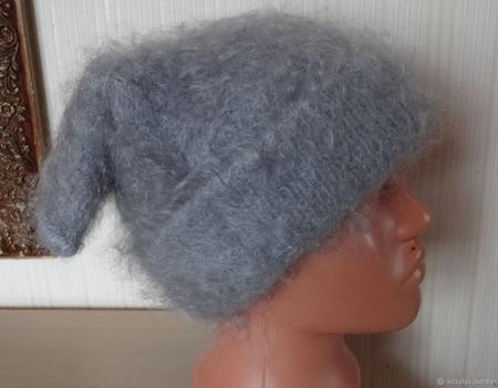 Тёплая пуховая шапка-козий пух. ручной работы на заказ