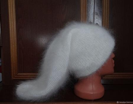 """Длинная шапка - чулок """"Колпак Буратины"""". Козий пух. ручной работы на заказ"""