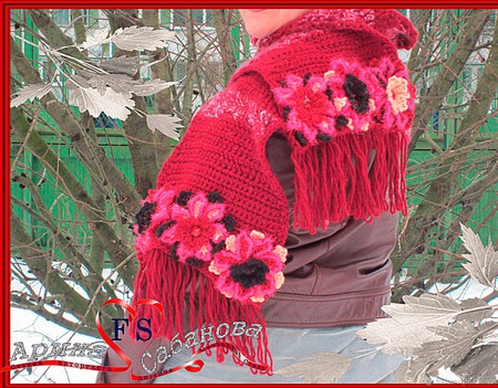 """Берет с шарфом """"Весенний"""" с бусинами и цветами ручной работы на заказ"""