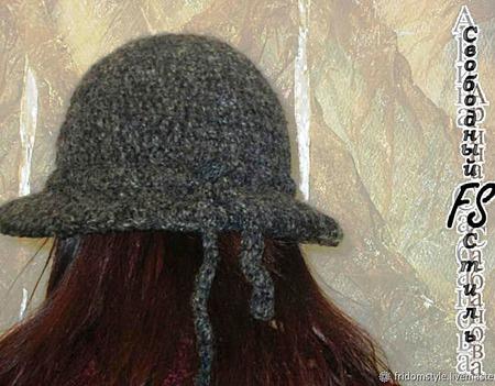 Вязанная классическая шляпка с широкими полями ручной работы на заказ