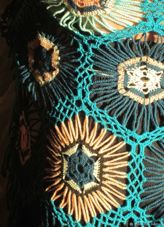 Шаль ажурная вязанная яркая колоритная ручной работы на заказ