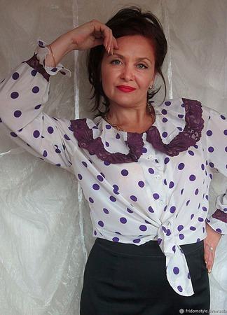 """Шелковая блуза """"Француженка"""" ручной работы на заказ"""