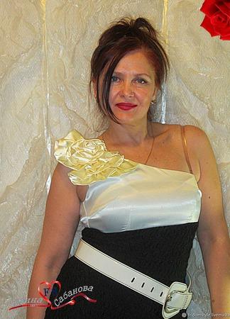 """Элегантное комбинированное платье """"Мадонна"""" ручной работы на заказ"""