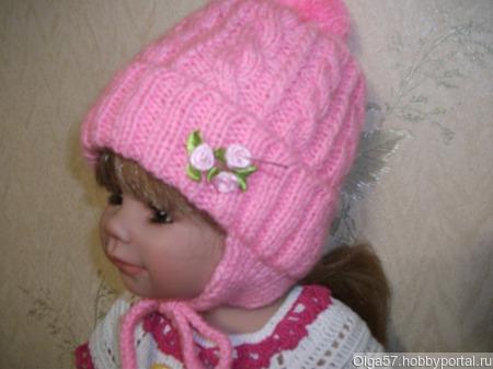 Теплая шапочка для девочки ручной работы на заказ