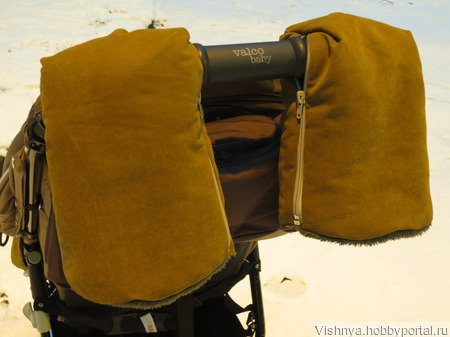 Рукавички на меху для коляски и санок ручной работы на заказ