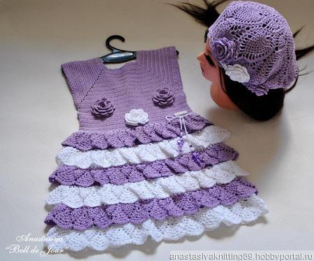 """Платье для девочки """"Сирени цвет"""" ручной работы на заказ"""