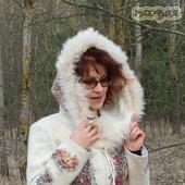 """Куртка валяная с капюшоном  """"Цветы России"""""""