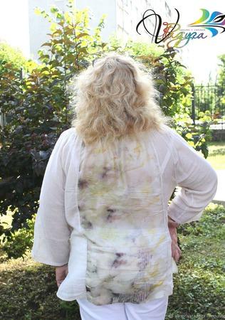 """Блуза """"Шепот летних трав"""" 2 - шелк, хлопок, экопринт ручной работы на заказ"""