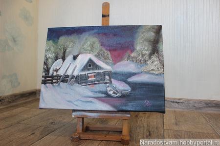 Картина маслом Зимовье ручной работы на заказ