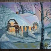 Картина маслом Зимняя сказка