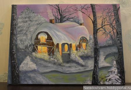 Картина маслом Зимняя сказка ручной работы на заказ