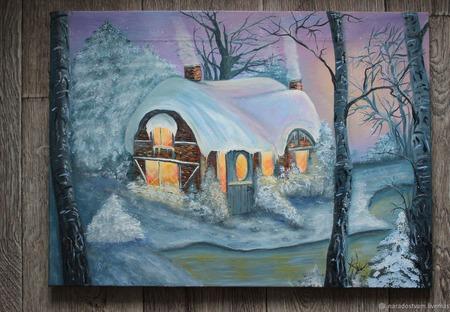 """Картина маслом """"Зимняя сказка"""" ручной работы на заказ"""