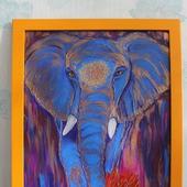 Картина акрилом Яркий слон. По мотивам