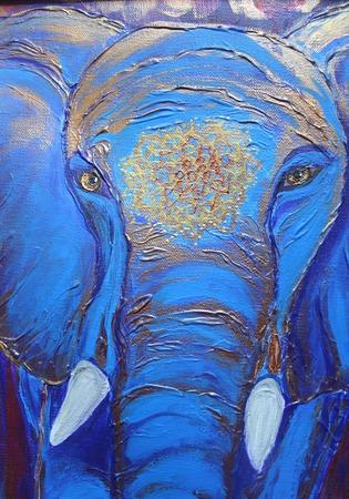 Картина акрилом Яркий слон. По мотивам ручной работы на заказ