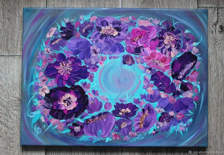 Картина маслом Хоровод цветов ручной работы на заказ